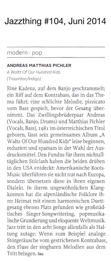 Jazzthing #104, Martin Laurentius, Juni 2014